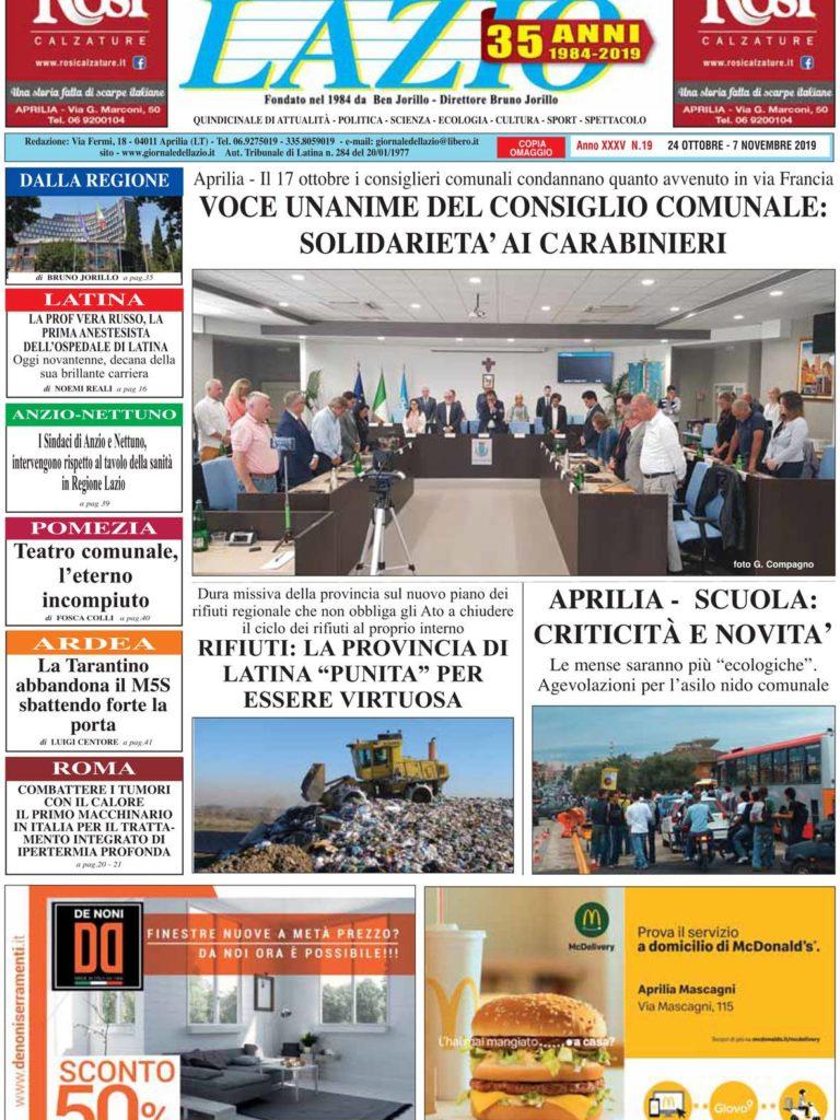 IL GIORNALE DEL LAZIO n. 19 del 24 Ottobre 2019
